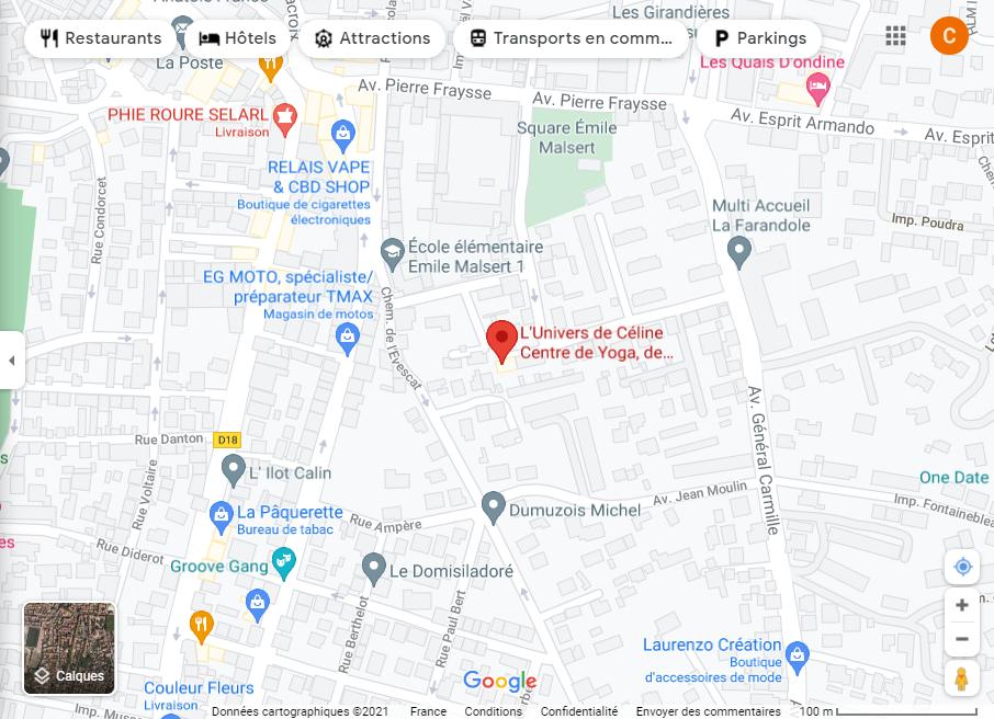 Itinéraire Google Maps L'Univers de Céline